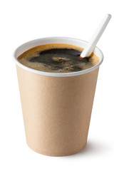 Coffee in disposable cup with plastic spoon