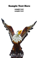 Sculpture of eagle  isolate on white background