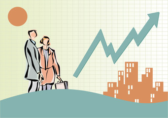Business people near buildings and line graph