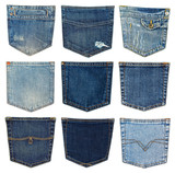 collection of different jeans pocket isolated on white.