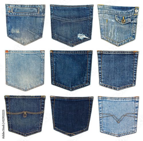 Fotobehang Stof collection of different jeans pocket isolated on white.