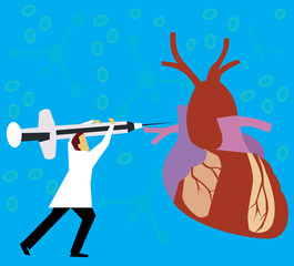 Doctor giving injection to heart