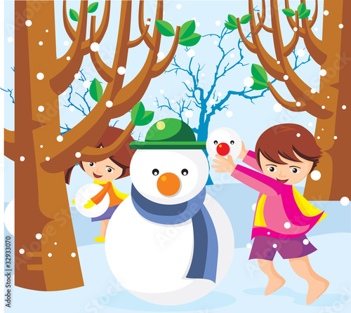 Children playing in the snow with a snowman