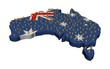Australia map flag with many abstract people illustration