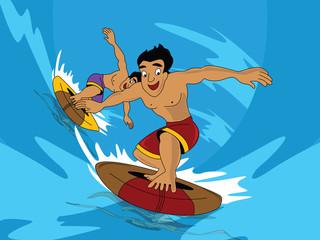Men doing water surfing