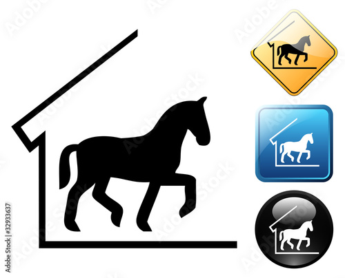 Horse stable pictogram and signs