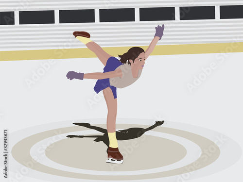 Side view of a young woman skating