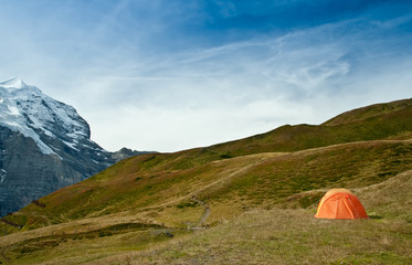 camping tent in swiss alps