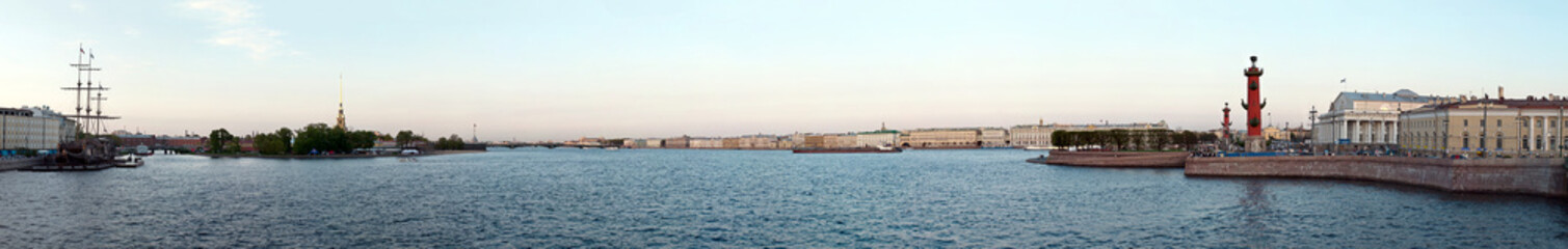 Panoramic view on the Neva river embankment, St. Petersburg