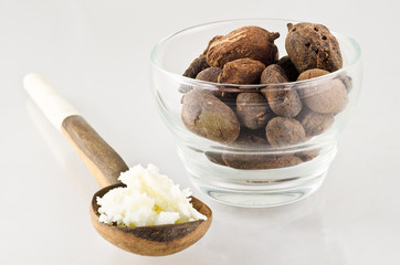 spoon with shea butter and nuts