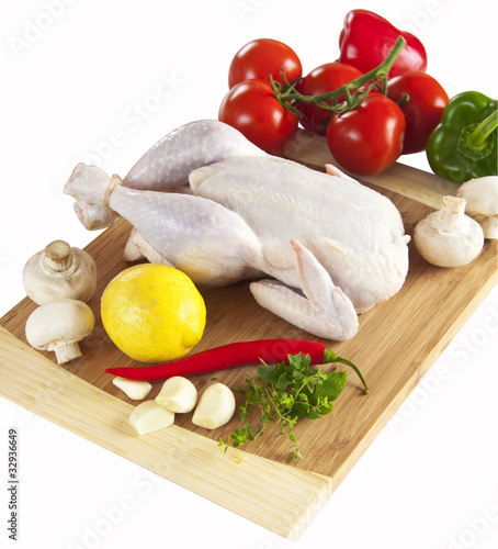 Fresh chicken and vegetables