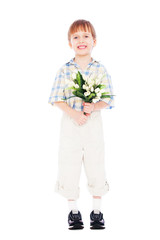 boy holding bunch of tulips