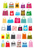 assortimento di borse da spesa, shopping bags, decorate