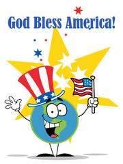 Globe Characters with American Patriotic Hat And Flag