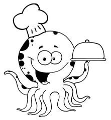 Outlined Octopus Chef