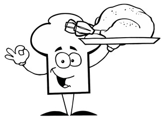 Outlined Chef Hat Guy Serving a Turkey