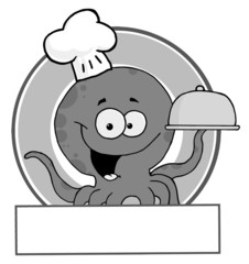 Grayscale Octopus Chef