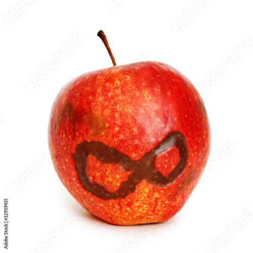 apple with abstract eight symbol isolated