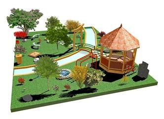 Giardino Parco Pubblico-Public Garden-3d-2