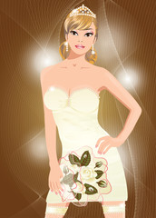 Beautiful sexy bride with flowers, vector illustration
