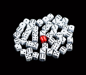 six dice surrounded