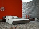 Wohndesign - rotes Schlafzimmer