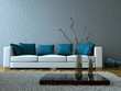 Modernes Wohnzimmer grau blau