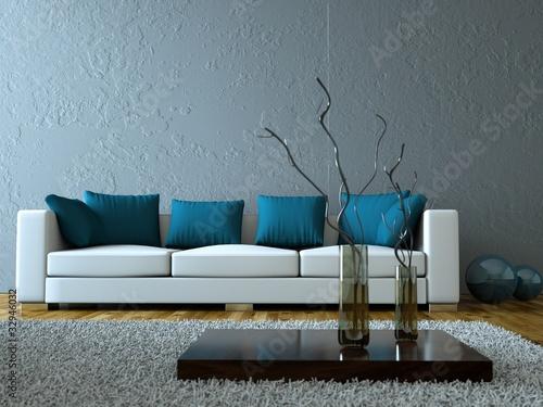 modernes wohnzimmer grau blau stockfotos und lizenzfreie bilder auf bild 32946032. Black Bedroom Furniture Sets. Home Design Ideas