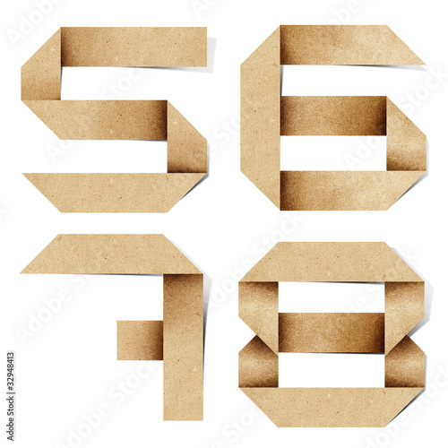 poster of Origami alphabet letters recycled paper craft.