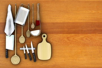 still life in the kitchen, 3d illustration