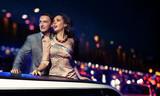 Elegant couple traveling a limousine at night - Fine Art prints