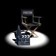 3d Directors chair with clapper and megaphone