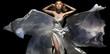 Gorgeous female model wearing white dress