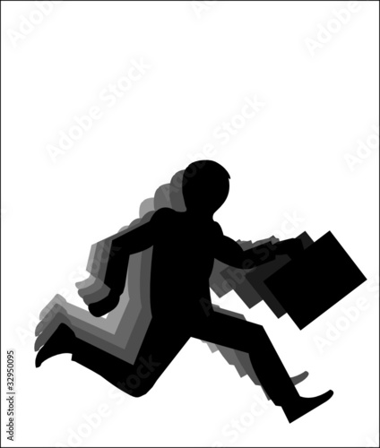 Running businessman silhouette