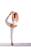 beauty woman exercise yoga - Dancer Pose
