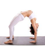 woman in yoga asana - bridge pose isolated