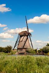 Windmill landscape at Kinderdijk The Netherlands