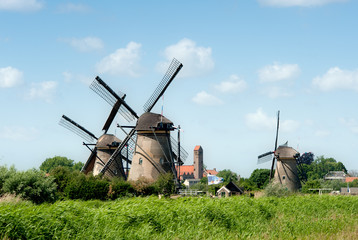 Windmill landscape at Kinderdijk The Netherlands