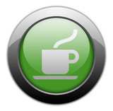 "Green Metallic Orb Button ""Coffee Shop / Hot Beverage"""