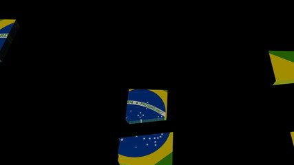 Brazil map flag converging animation