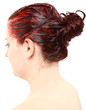 Bright Red Hair Color Piled on Young Woman's Head