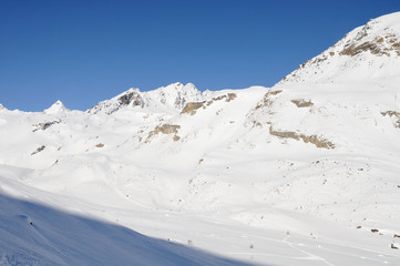 Winter landscape in high Val Martello