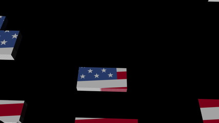 USA map flag converging animation
