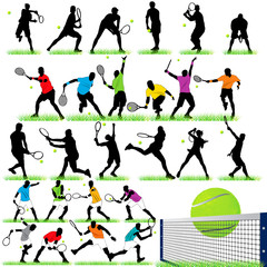 Tennis silhouettes set