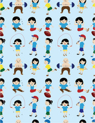 cartoon sport people seamless pattern
