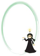 Muslim woman with an idea frame