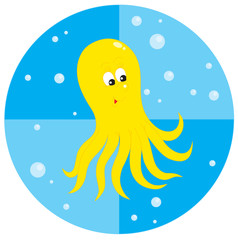 funny yellow octopus with bubbles