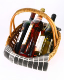 Wine in basket top rear view