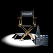 3d Directors chair in the dark with clapperboard