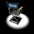 3d Looking down at the Directors chair in spotlight